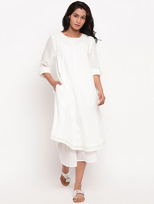 White Cotton Kurta with Thread Details and Lining