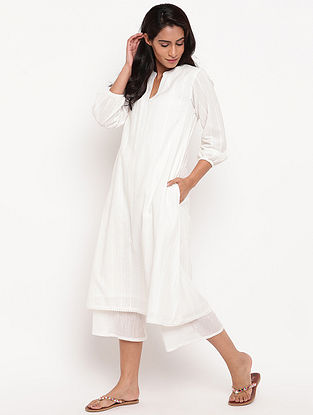 White Cotton Dobby Kurta with Lace Details and Lining