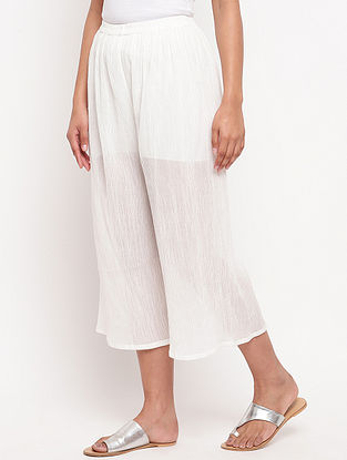 White Crinkled Cotton Palazzos with Elasticated Waist