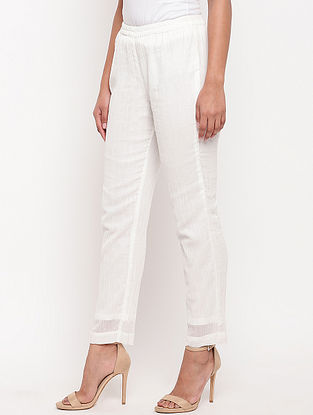 White Crinkled Cotton Pants with Lining and Elasticated Waist