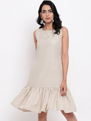 Grey Cotton Linen Dress with Side Pockets