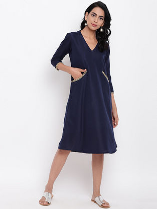 Blue Cotton Linen Dress