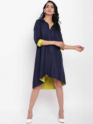 Blue Cotton Linen Dress with Side Pockets