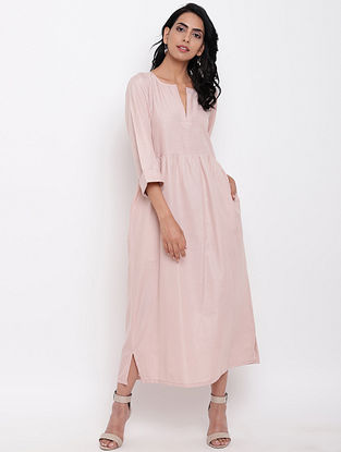 Pink Cotton Linen Dress with Side Pockets