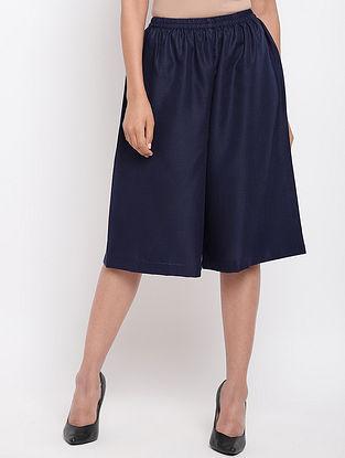 Blue Cotton Linen Elasticated Pants