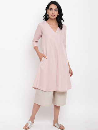 Pink Cotton Linen Kurta with Elasticated Pants (Set of 2)
