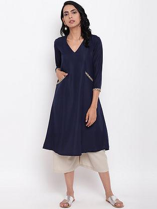 Blue Cotton Linen Kurta with Elasticated Pants (Set of 2)