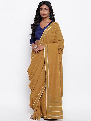Mustard Cotton Khadi Saree with Gota Detailing