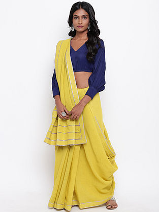Yellow Cotton Khadi Saree with Gota Detailing