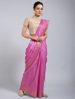 Pink Tussar Silk Saree with Zari