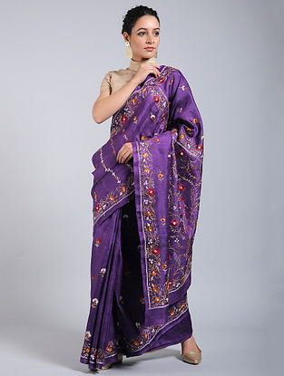 Purple-Red Hand-embroidered Tussar Silk Saree