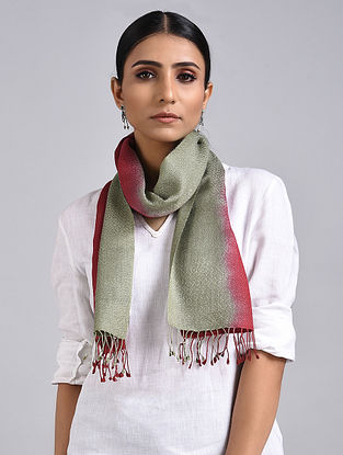 Grey-Red Ombre Dyed Handwoven Pashmina Silk Muffler
