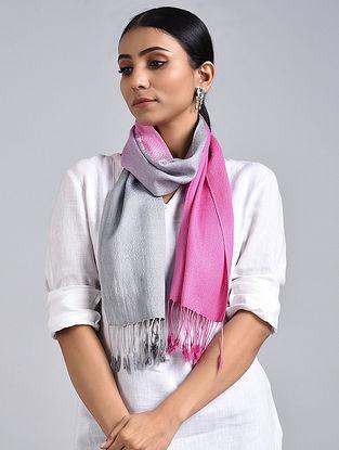 Grey-Pink Ombre Dyed Handwoven Pashmina Silk Muffler