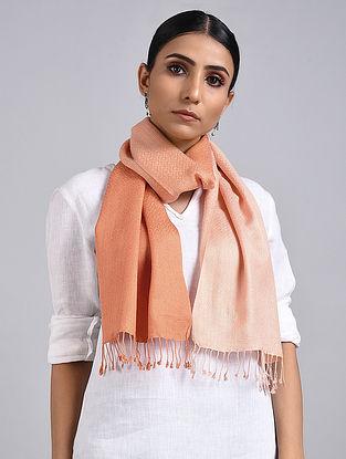 Peach Ombre Dyed Handwoven Pashmina Silk Muffler