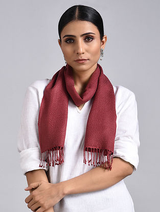 Red Handwoven Pashmina Silk Muffler