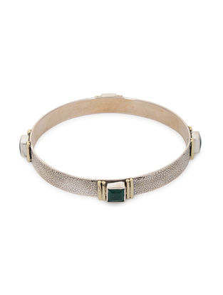Green Tribal Silver Bangle