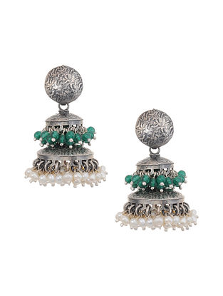 Green Tribal Silver Jhumki Earrings with Pearls