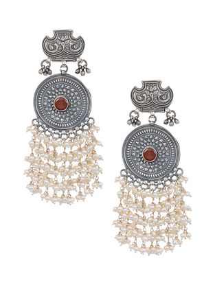 Red Tribal Silver Earrings with Pearls