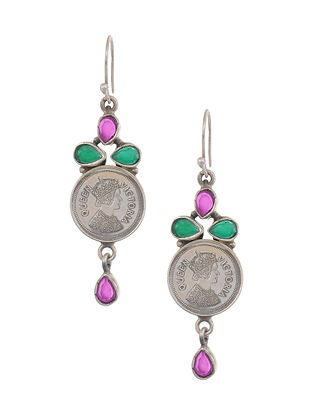 Maroon Green Tribal Silver Earrings with Coin Design
