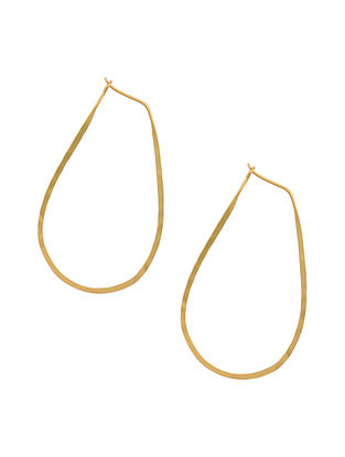 Gold Tone Silver Hoop Earrings