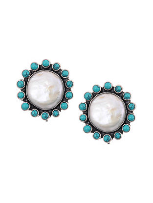 Tribal Silver Earrings with Turquoise and Mother of Pearl