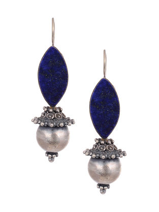 Tribal Silver Earrings with Lapis Lazuli