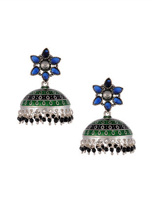 Multicolored Enamleled Silver Jhumki Earrings