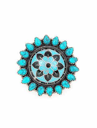 Turquoise Black Enameled Silver Adjustable Ring