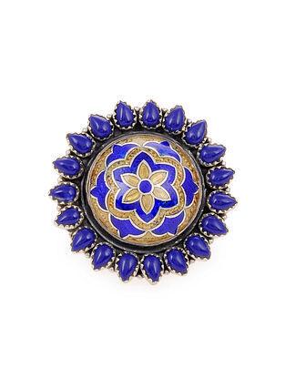 Blue Enameled Silver Adjustable Ring