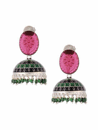 Multicolored Enameled Silver Jhumki Earrings