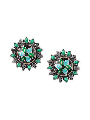 Black Green Enameled Silver Earrings