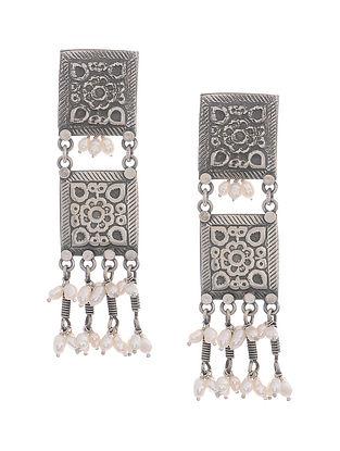 Pearl Tribal Silver Earrings