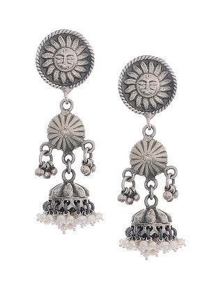 Pearl Tribal Silver Jhumkis