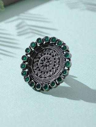 Green Tribal Silver Adjustable Ring
