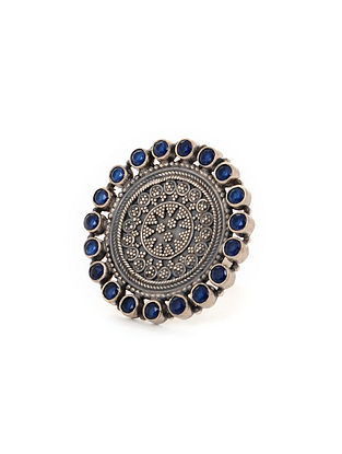 Blue Tribal Silver Adjustable Ring