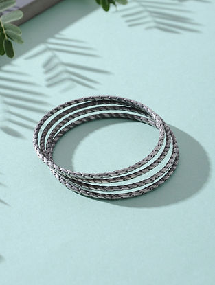 Tribal Silver Bangles (Set of 4)