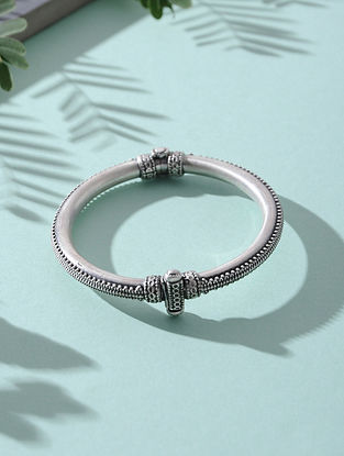 Hinged Opening Tribal Silver Bangle