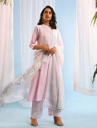 White Chikankari Handloom Cotton Dupatta with Mukaish