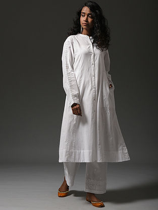 White Chikankari Cotton Kurta with Mukaish