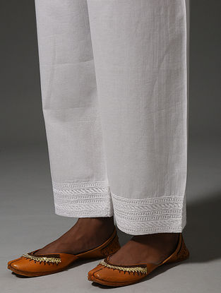 White Tie-up Waist Chikankari Cotton Pants