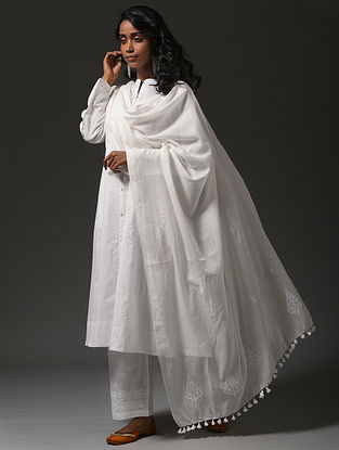 White Chikankari Handloom Cotton Dupatta with Mukaish