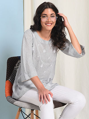 Ivory-Blue Chikankari-embroidered Handloom Cotton Top