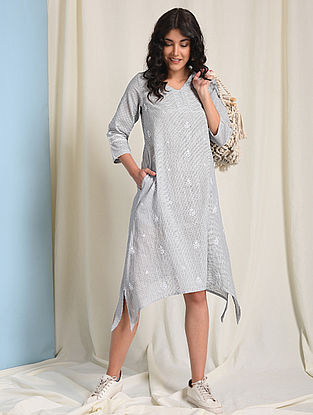 Ivory-Grey Chikankari-embroidered Handloom Cotton Dress with Pockets