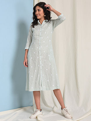 Ivory-Green Button-down Chikankari-embroidered Handloom Cotton Dress