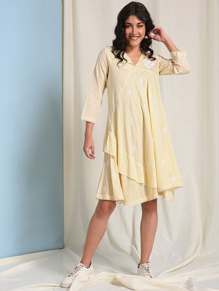 Ivory-Yellow Chikankari-embroidered Handloom Cotton Dress