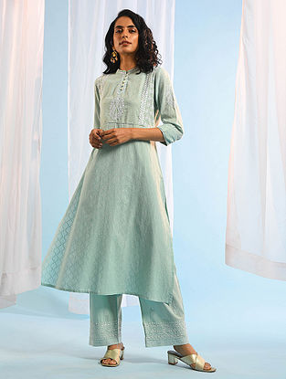 ISMAT CHUGHTAI - Aqua Chikankari Cotton Dobby Kurta with Mukaish