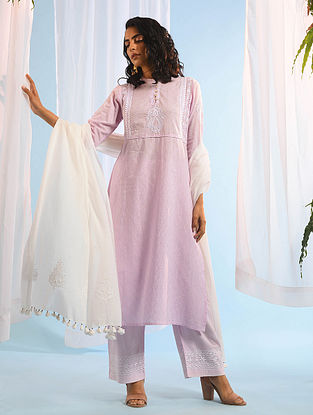 BEGUM AKHTAR - Pink Chikankari Cotton Dobby Kurta with Mukaish