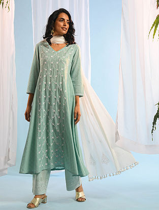 LAKSHMI SEHGAL - Aqua Chikankari Cotton Dobby Kurta with Mukaish