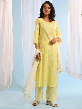 RANI JHANSI - Yellow Chikankari Cotton Dobby Kurta with Mukaish