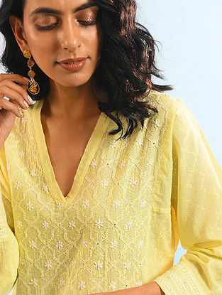 RASHEED JAHAN - Yellow Chikankari Cotton Dobby Kurta with Mukaish